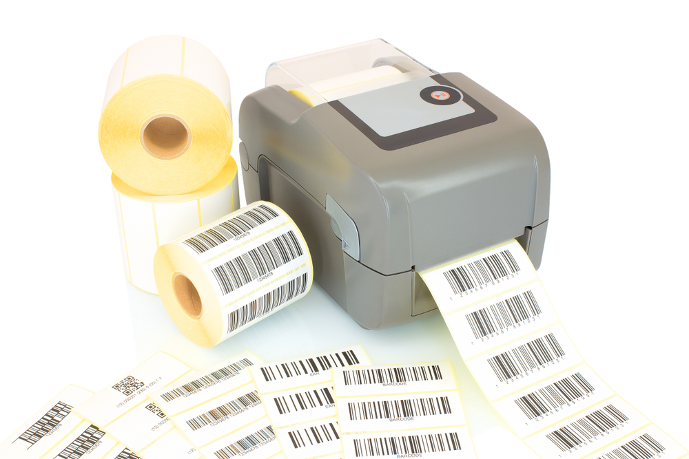White label rolls, printed bar codes on white background