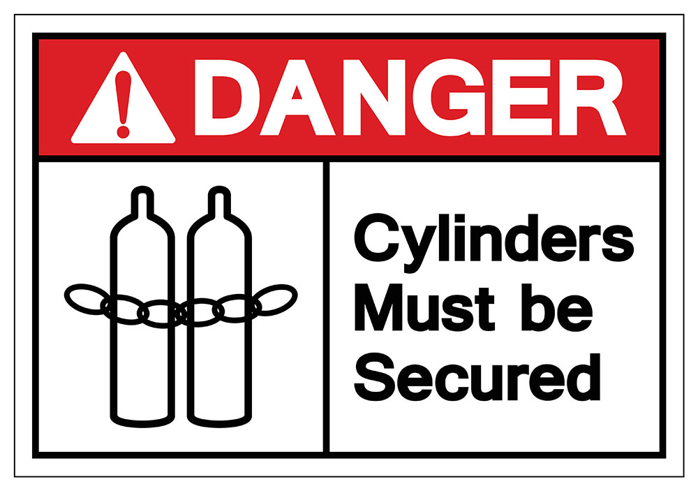 Danger cylinders must be secured symbol sign