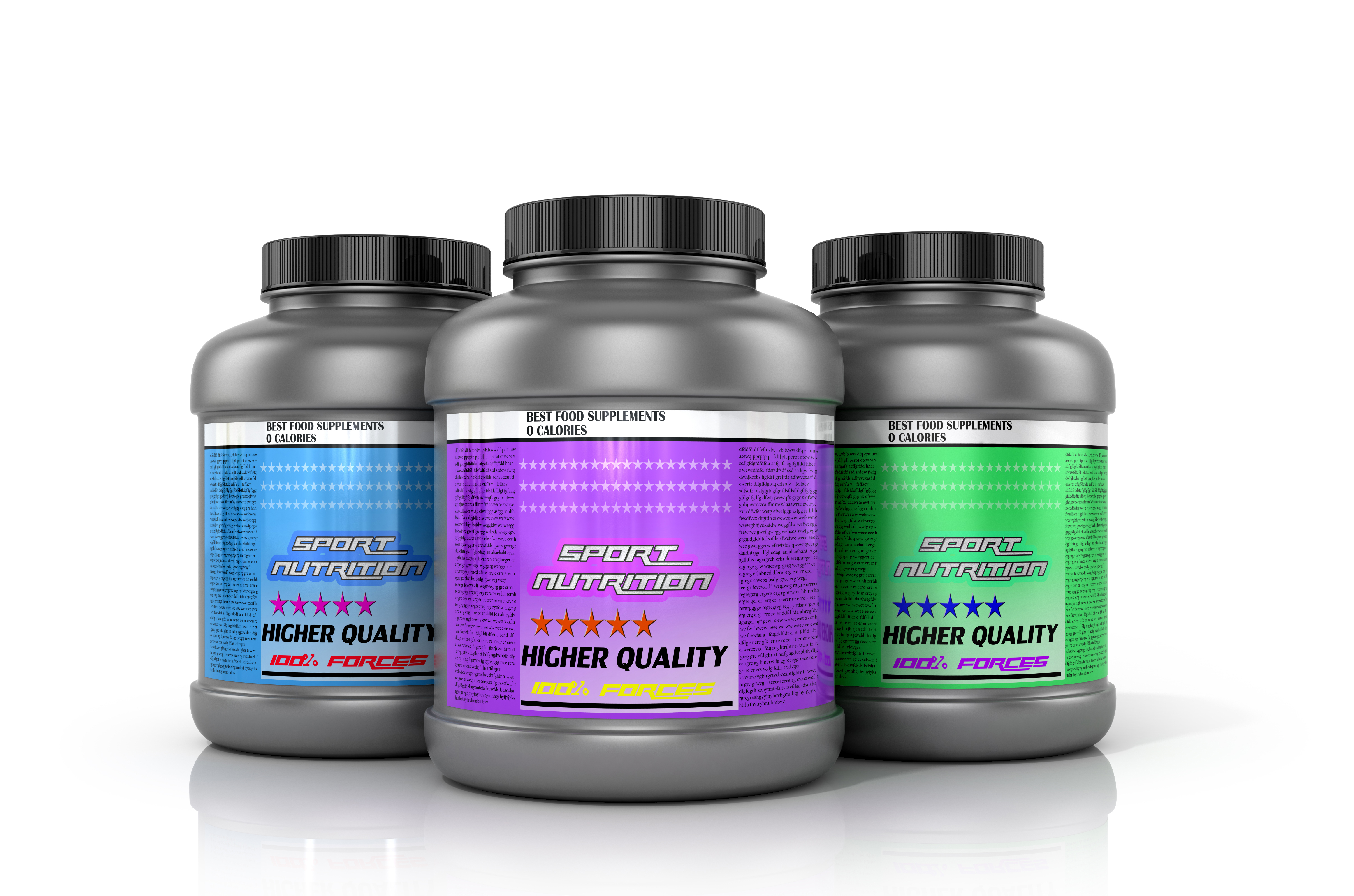 Sports nutrition supplements on a white background